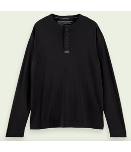 SCOTCH AND SODA Classic Long-sleeve Grandad Tee - Black -