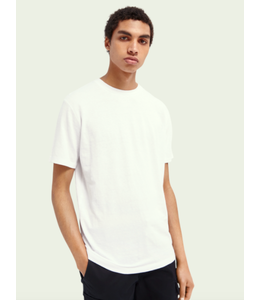 SCOTCH AND SODA Linen-blend jersey t-shirt - White -