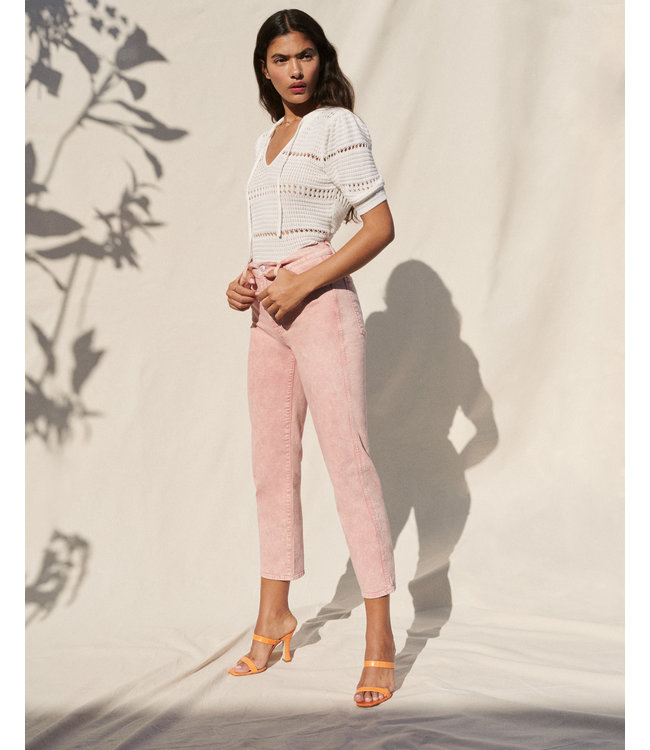 7 FOR ALL MANKIND HIGH WAIST CROPPED STRAIGHT - MINERAL ROSE -