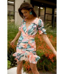 Ruched mini dress - coral multi -