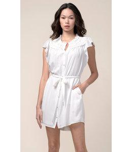 Lenza gathered detail dress- white -