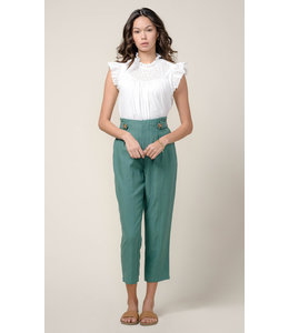 Lilian High Waist Tapered Pant  - Green -