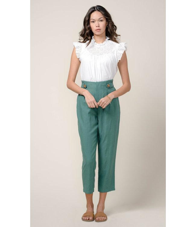 Lilian High Waist Tapered Pant  - Green -
