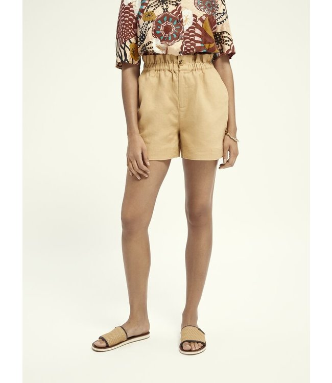 SCOTCH AND SODA Linen shorts with elasticated waist - 161596-Yellow -