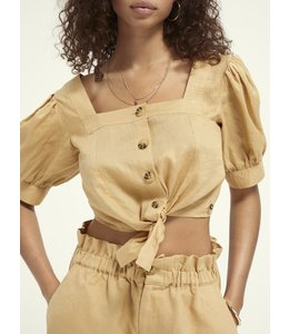 SCOTCH AND SODA Beach top in linen quality - 161474- Yellow -