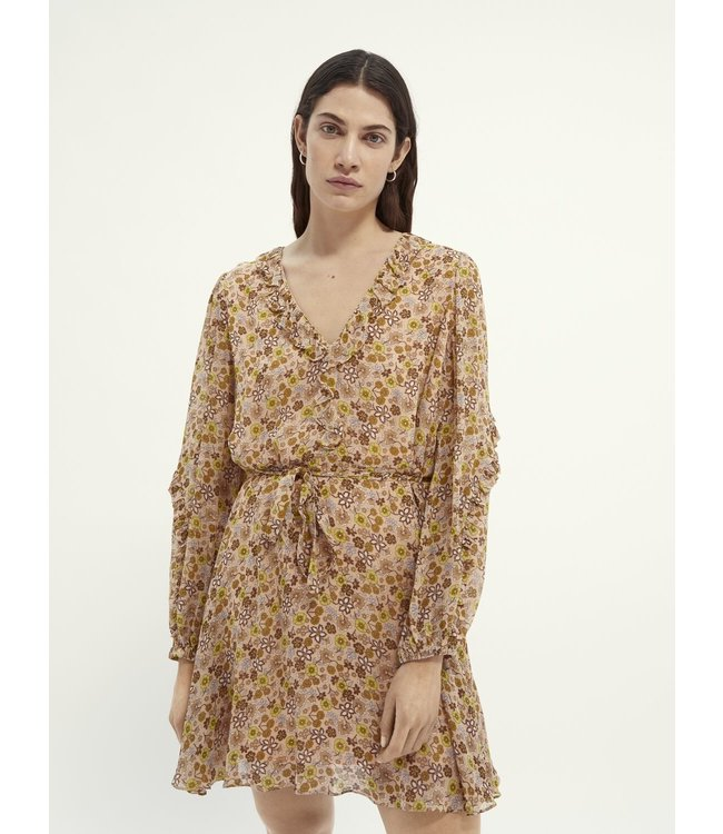 SCOTCH AND SODA Mixed printed dress in crinkled viscose - 161542-