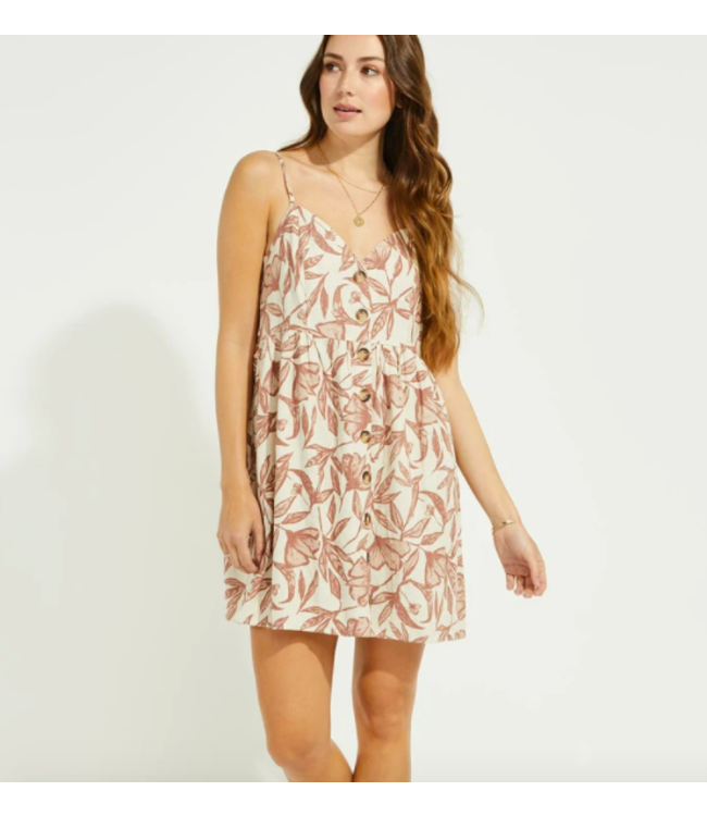 GENTLE FAWN PALM DRESS -Natural floral -