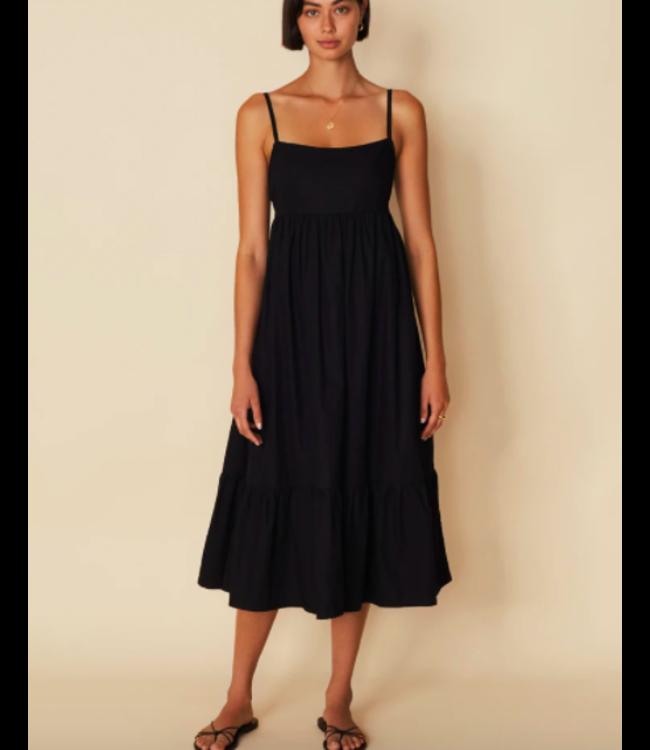 FAITHFULL THE BRAND Candace Midi Dress Plain Black -