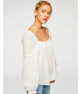 7 FOR ALL MANKIND SQUARE NECK RUFFLE TOP - WHITE -
