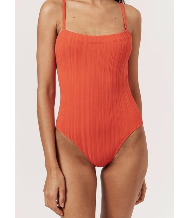 SOLID & STRIPED THE GEMMA - SOLID RIB - RED -