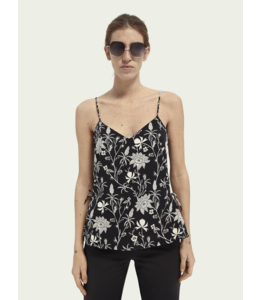 SCOTCH AND SODA Jersey woven tank with tie detail - 161728-