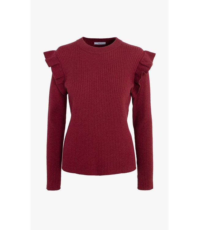 Freda rib ruffled sweater - Burgundy -