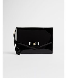 HARLIEE Vinyl bow detail pouch - Black
