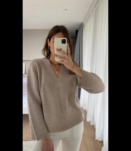 CHARLI Camaron cashmere sweater - Oatmeal-