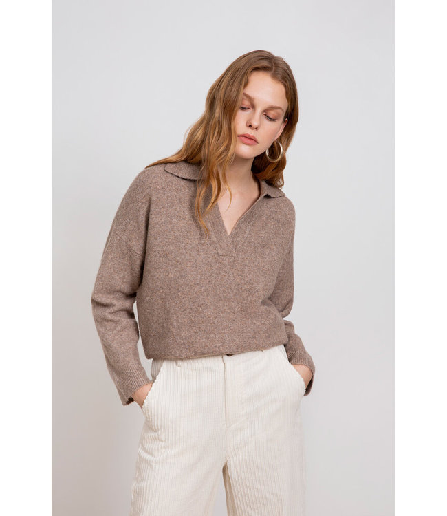 PATCHO PULLOVER - TAUPE -