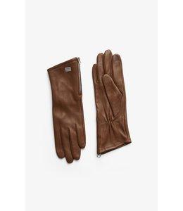 MEENA cuffed leather gloves -Chestnut -