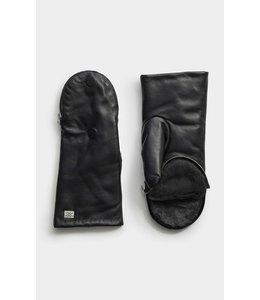 BETRICE fur leather mittens -BLACK -