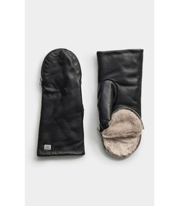 BETRICE fur leather mittens -  Fawn -