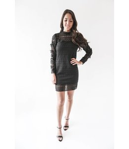 LACE MIX DRESS - CF79 - BLACK