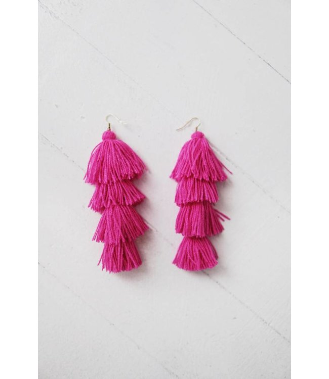 TASSEL EARRINGS - FUSCHIA