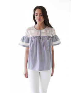 SCOTCH AND SODA STRIPED NAVY WHITE TOP LACE - 055 -