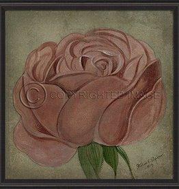 Vintage Rose in Black Frame, Pink - 33.5 Inch x 33.5 Inch