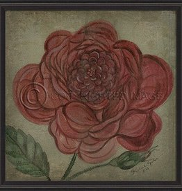 Vintage Rose in Black Frame, Red - 33.5 Inch x 33.5 Inch