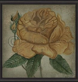 Vintage Rose in Black Frame, Yellow - 33.5 Inch x 33.5 Inch