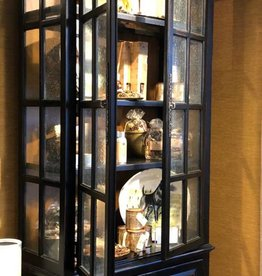 AMBELLA HOME COLLECTIONS Rococco Vitrine, Antique Ebony - 44 Inch x 20 Inch x 109 Inch