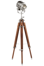 VISUAL COMFORT Ralph Lauren Montauk Search Floorlamp, Silver and Mahogany - 65 Inch - 77.5 Inch X W 24 Inch
