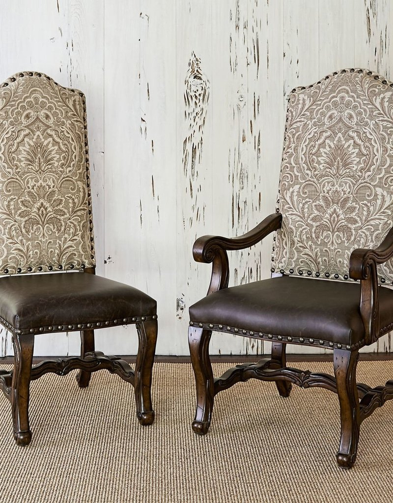 AMBELLA HOME COLLECTIONS Florence Side Chair, Neutrals & Brown Leather - 22 Inch x 27 Inch x 52 Inch