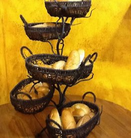 Wrought Iron Fruitwood Six Basket Holder -  22 Inch x 22 Inch x 33 Inch *RETIRED