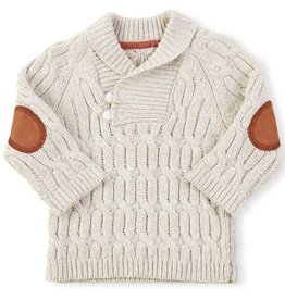 BABY Cable Knit Pullover Sweater With Toggles and Elbow Patches