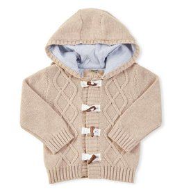BABY Hooded Cable Knit Toggle Sweater