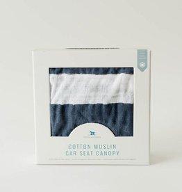 Cotton Muslin Car Seat Canopy - Navy Stripe