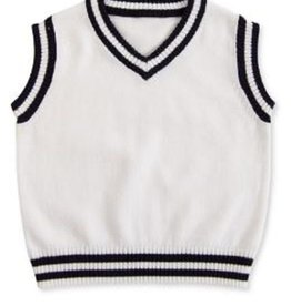 BABY White & Navy Blue Striped Sweater Vest