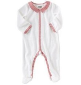 MUD PIE Holiday Monogram Me Velour Sleeper-Boy
