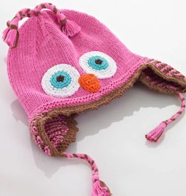 PEBBLE CHILD Pink Owl Hat