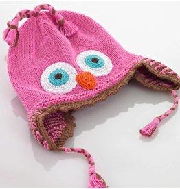 PEBBLE CHILD Pink Owl Hat