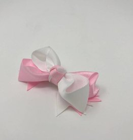 BABY Small Pink & White Hair Bow