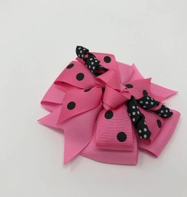 BABY Pink with Large Black Dot Hair Bow