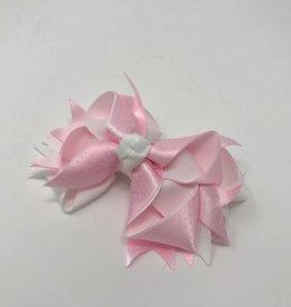 BABY Large Pink Dot & White Hair Bow