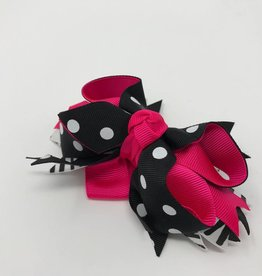 BABY Pink, Black, & White Hair Bow