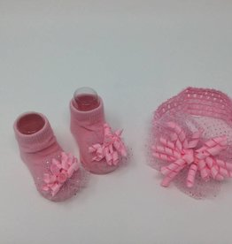 BABY Sparkle Pink Headband and Bootie Set 12-24M