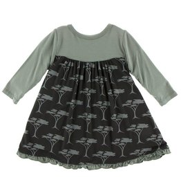 KICKEE PANTS Long Sleeve Classic Swing Dress - Zebra Acacia Trees