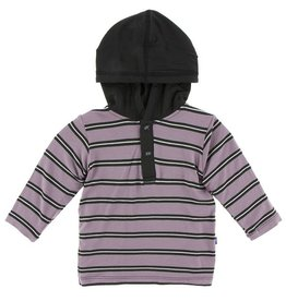 KICKEE PANTS Long Sleeve Hoodie Tee -  Elderberry Kenya Stripe