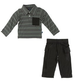 KICKEE PANTS Long Sleeve Polo & Cargo Pant - Kenya Stripe