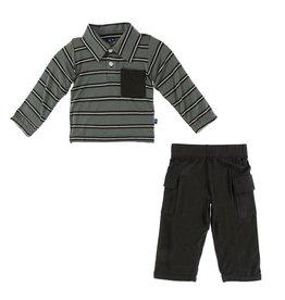 KICKEE PANTS Long Sleeve Polo & Cargo Pant - Kenya Stripe
