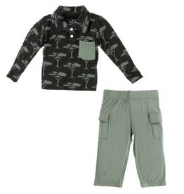KICKEE PANTS Long Sleeve Polo & Cargo Pant - Zebra Acacia Trees