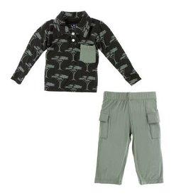 KICKEE PANTS Long Sleeve Polo & Cargo Pant - Zebra Acacia Trees